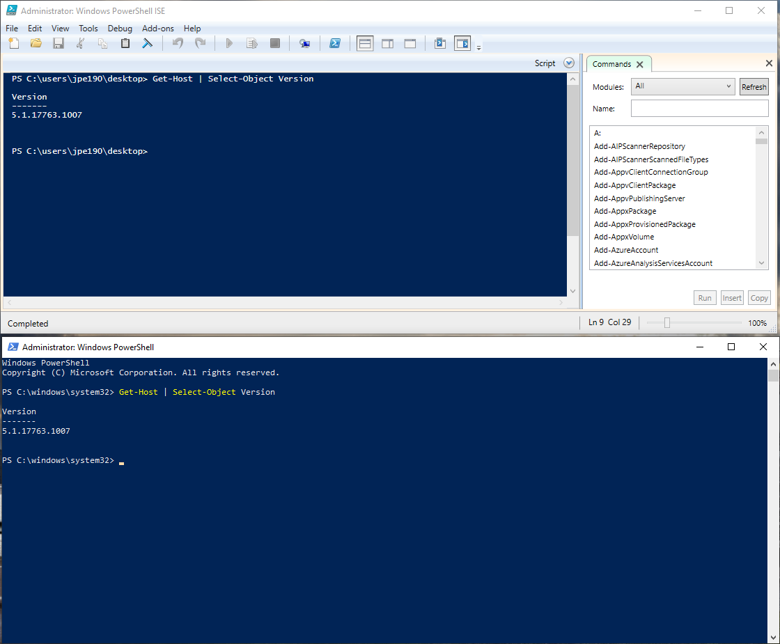 Powershell command line and ISE screenshot